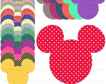 Polka Dots Minnie Mickey Mouse Digital Clip Art Commercial Use - Instant Download  - DP263