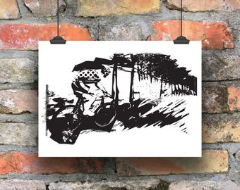Cycling Art / Off the Front, Into the Woods Cycling Print / Cycling Poster