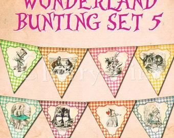WONDERLAND BUNTING - Decor - digital - decoration - banner - party printable - tea party - instant download -