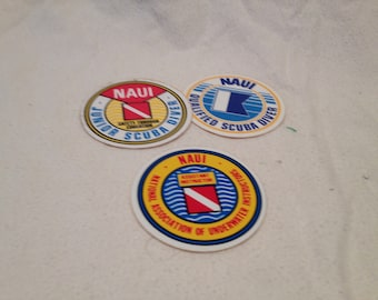 3 Vintage Multicolored NAUI Stickers Qualified Specialty and Advanced Scuba Diver