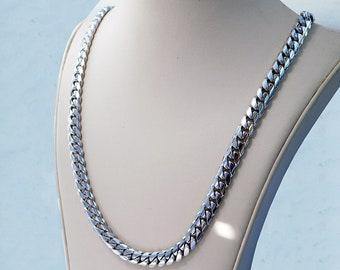 """14K White Gold Miami Men's Cuban Curb Link Chain Necklace 99.8 Grams 24"""" 7mm"""
