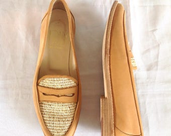 1990's Joan & David Leather Raffia Loafers Sz. 6 1/2 M