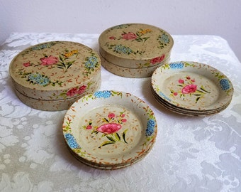 Vintage Paper Mache Round Floral Coasters Set of 8 in Two Boxes Made in Japan,  Shabby Cottage Bohemian Flowers