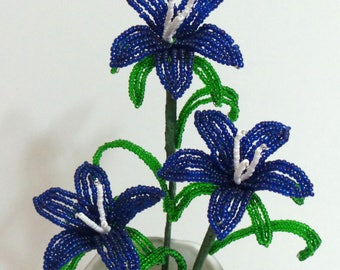 Beaded Flowers French Beaded Bellflowers in Tree Trunk Vase