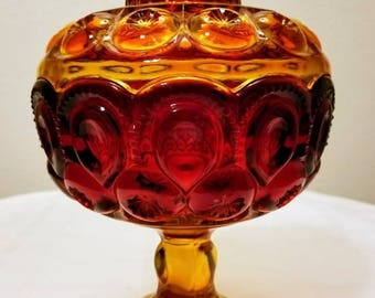 Vintage L.E. Smith Large Amberina Glass Moon and Stars Lidded Compote