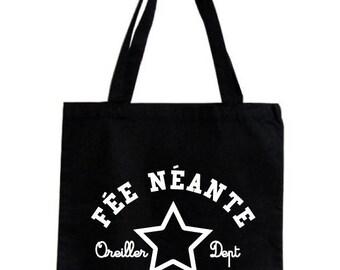 Tote bag / fairy neante, 100% high hanse cotton grocery bag, black.