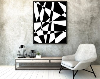 Black and White Geometric Print,  Printable Art, Digital Art, Abstract Print,  Poster, Shapes, Digital download, Instant Download, Wall Art