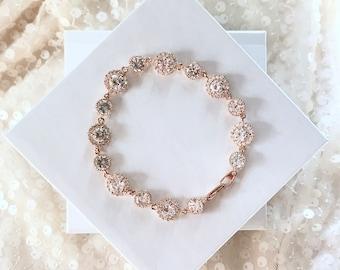 Rose Gold Wedding Bracelet- Silver, Gold or Rose Gold Rhinestone Bracelet, CZ Cushion Cut links, Bridal Jewelry, Pink Gold Jewelry