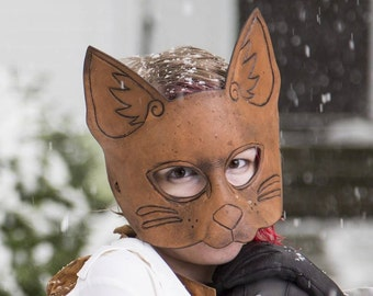 Leather Cat Mask in Brown Leather