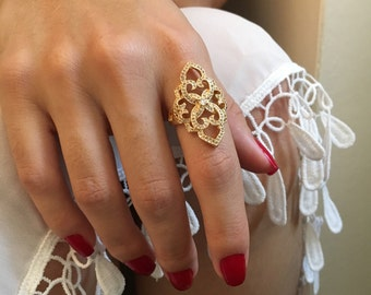 Gold Ring, Pave Ring, Delicate Gold Ring, White Sapphire Ring, Cubic Zirconia Ring, Large Rings