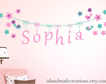 baby wall decal Nursery Name wall decal Extra Large Custom  Monogram Decal with Name DECAL BABY large