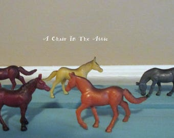 Collection of 5 Miniature Horses for Play or Craft Projects