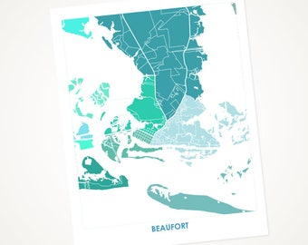 Beaufort NC Map Print.  Choose the Colors and Size.  North Carolina Coastal Living Decor.