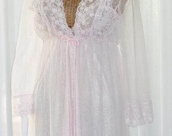 60s Pink Chiffon Peignoir Set Floor Length JCP Small