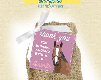 Horse Girl Birthday Favor Tags  - Printable