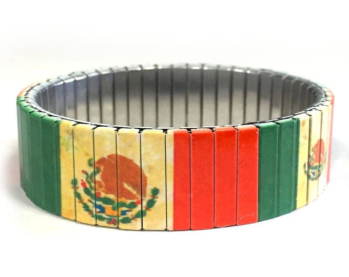 Mexican flag bracelet,Aged, Mexico, Stretch Bracelet, Repurpose watch band, Sublimation, Stainless Steel, Wrist Band, gift for friends