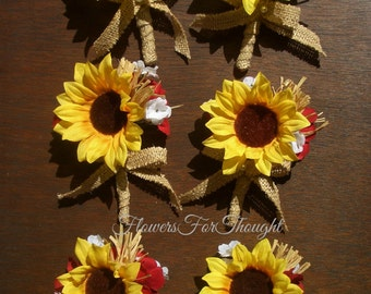 1 Rustic Sunflower Boutonniere with Burlap Bow, Mens Buttonhole Flower, Groomsmen Lapel Bloom, Summer Fall Wedding, Made to Order