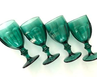 Blue Green Vintage Glassware  -  Large Libbey Duratuff Goblets, Set of 4