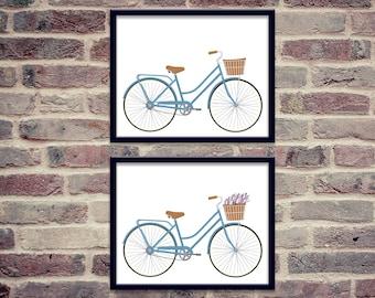 Vintage Blue Bicycle with Basket Printable Bundle   8x10   Bike with Basket of Flowers  Wall Art Print