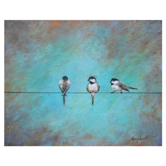 Vogel auf einem Draht-Wand-Kunst große Meise