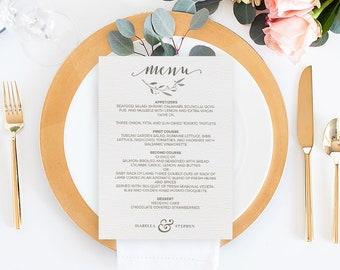 Editable Wedding Menu, Rustic Wedding Menu Template, Printable Wedding Menu, Wedding Menu Printable, Printable, Adobe Reader, 5x7, PDF #4