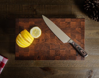 Cutting Board (Walnut End Grain) with Uniquely Designed Tapered Edges - Comes with Lifetime Guarantee