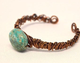 Turquoise Wire Wrapped Adjustable Bangle
