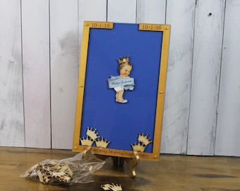 Baby Shower/Top Drop Frame/Guest Book/Unique/Alternative/Prince/baby boy/Prince Themed Shower/Drop Frame/Crown/baby boy shower/Fast Shipping