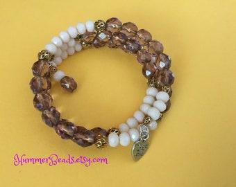 B049 Purple and Cream Bracelet