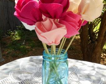 Felt Rose Bouquet - Pinks