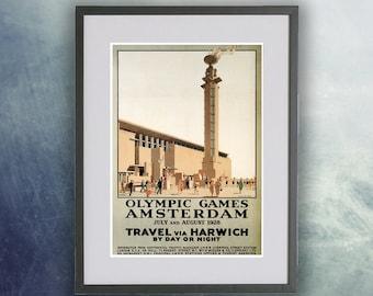 Amsterdam Olympics Vintage Poster Print