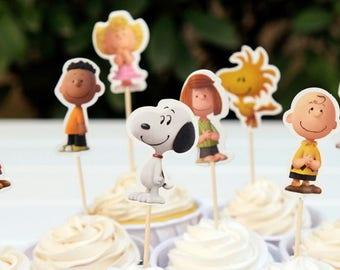 READY To SHIP The Peanuts Movie Inspired Cupcake Toppers, Toppers, Picks, Cake Toppers, Cake Topper Pick, Cupcake Picks, Birthday