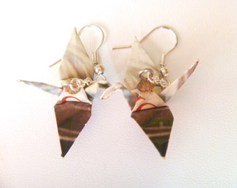 Unique Origami Crane Earrings –FREE SHIPPING– tan & brown colorful recycled-upcycled-reclaimed-renewed-repurposed paper #e702 marlisa