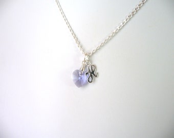Girls Initial Necklace, Kids Personalized Jewelry, Violet Crystal Heart Necklace, Childrens Jewelry, Kids Necklace, Sterling Silver