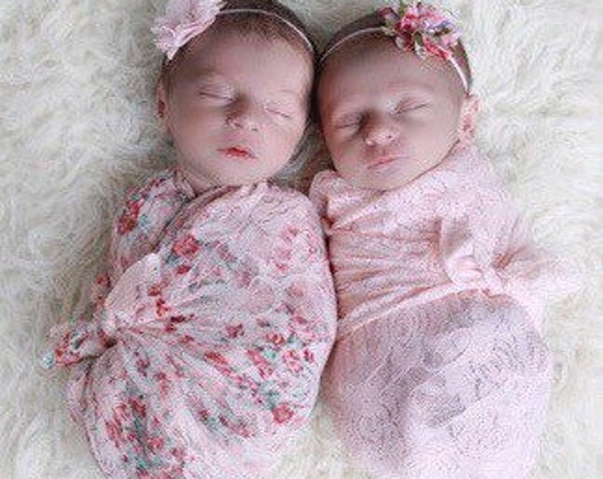 Shades of Pink stretch swaddles AND/OR headbands, newborn, bebe foto, by Lil Miss Sweet Pea