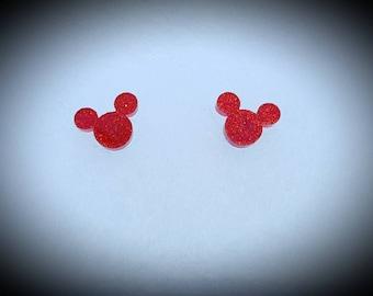 Disney inspired red glitter mickey earrings