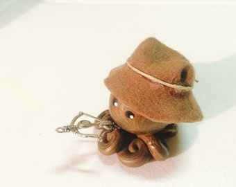 Little Zombie Hunter Octopus in Brown and Gold Swirl with Brown Felt Hat Choose Your Weapon