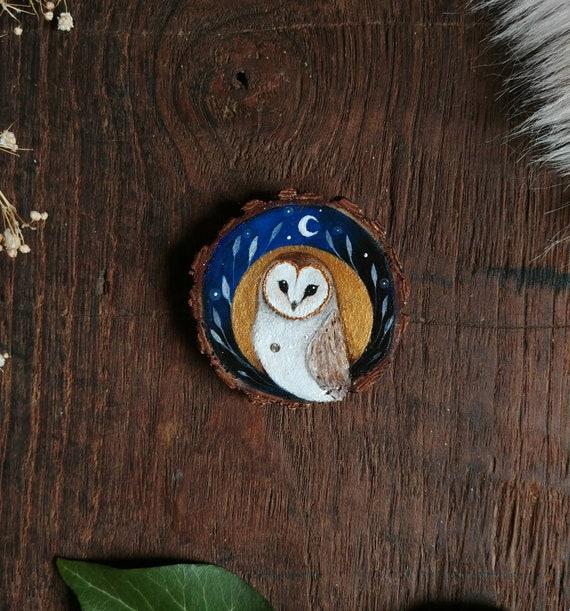 Painting owl, animal spirit, art on wood, slice of painted wood, original art
