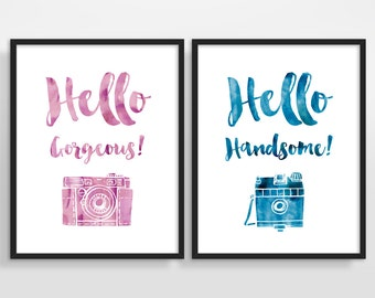 Hello Gorgeous, Hello Handsome, Gift for couples, Wedding Gift, Couples Gift, Love Quote Wall Art, Typography Posters, Set of 2