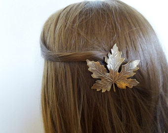 Wedding Hair Clip Bridal Barrette Bride Bridesmaid Brown Maple Leaf Autumn Fall Rustic Woodland Wedding Accessories Womens Gift For Her