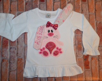 Embroidered 3D Easter Spakle  Bunny Shirt