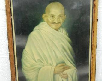 Antique Chromolithograph Gandhi 40x55cm Print Oleograh India 121 x 2