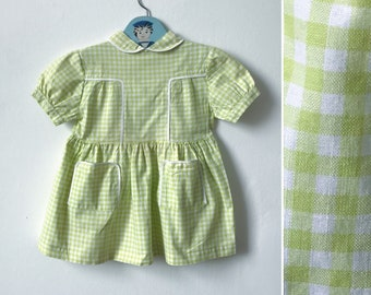 Vintage girls dress, summer dress, 1950s 1960s French, green and white gingham, Peter Pan collar, vintage girls clothes, age 3 years