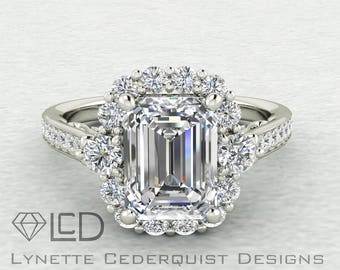 The Autumn 1.5 carat Emerald Cut Forever One Moissanite Halo Cathedral Style Engagement Wedding Ring