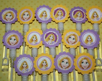 Rapunzel Inspired mini bubble wand party favors - set of 15