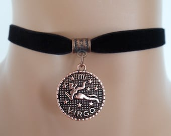 velvet choker, virgo choker, virgo necklace, stretch ribbon, black velvet, zodiac, copper tone