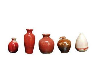 Assembled Red Glazed Diminutive Pottery - Set of 5