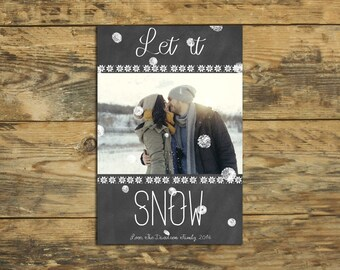 Holiday Card - Let It Snow - Custom Photo Holiday Card - Christmas Photo Card - DIY - Printable File - Digital File