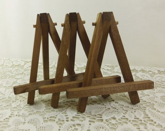 Rustic Brown Easels, 3 Small Tabletop Display Hand Stained Wood Easel for Miniature Art, Wedding Display
