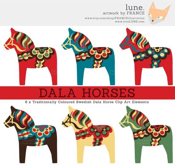 Dala Horse Clip Art. Traditional Nordic Folk Art Designs. Swedish  Scandinavian Clipart. Dalahst/Dalecarlian horse. Little Pony